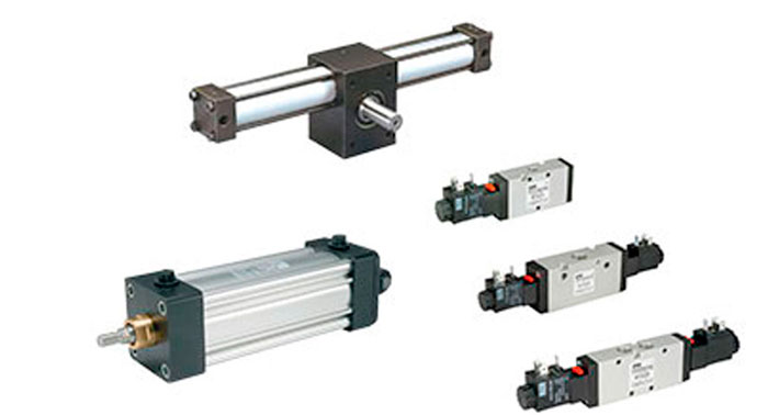 Parker Pneumatic components including air cylinders, rotary actuator, and inline double solenoid valves