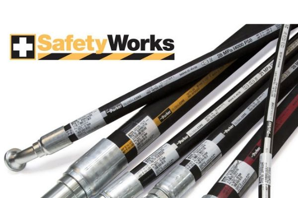 Hydraulic hose picture with SafetyWorks logo