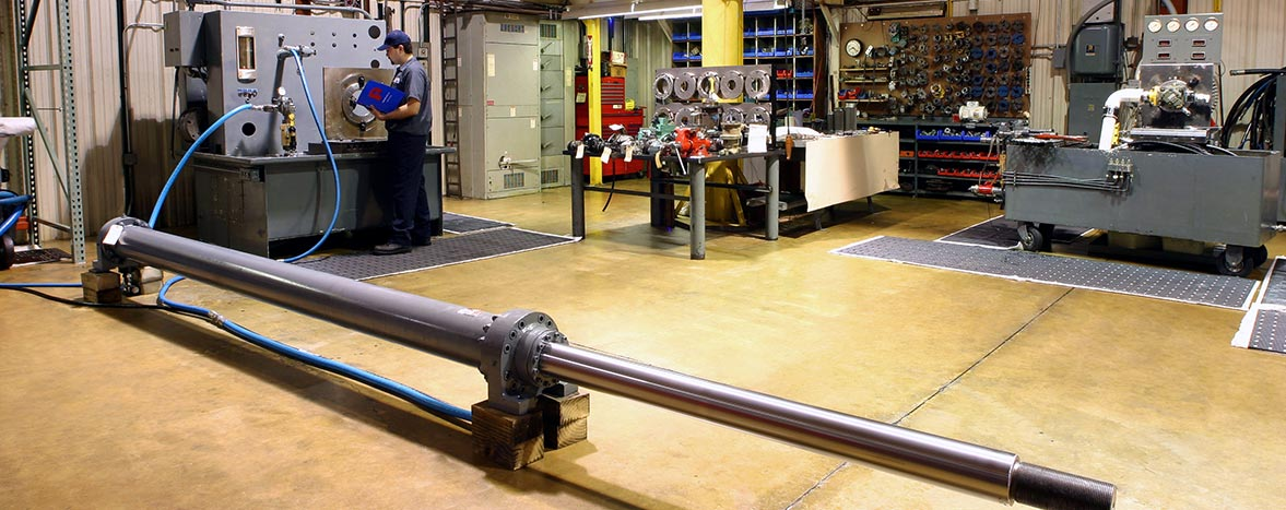 Hydraulic cylinder rod rechrome at our repair service center