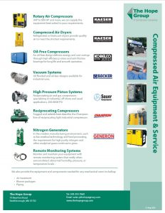 Hope Group Compressed Air Equipment & Services line card